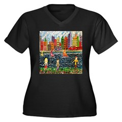 City Race Women's Plus Size V-Neck Dark T-Shirt