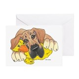 Dog and duck Greeting Cards