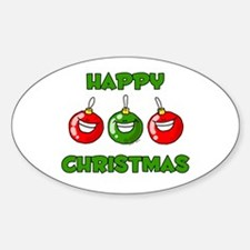 Happy Merry Christmas Oval Decal