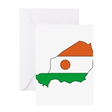 niger Flag Map Greeting Card