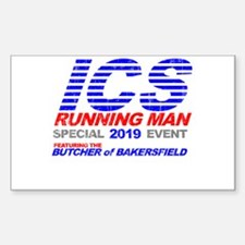 ICS Running Man Retro Rectangle Decal