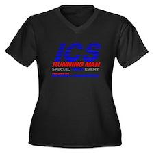ICS Running Man Retro Women's Plus Size V-Neck Dar