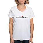 I Love My Soldier ShyBoy Women's V-Neck T-Shirt