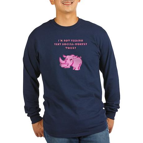 Not social-workey in pink Long Sleeve Dark T-Shirt