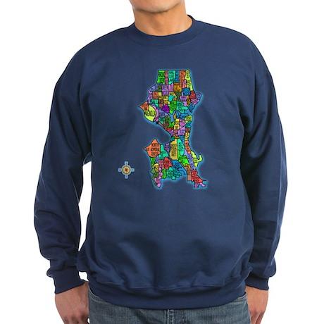 Brilliant Colors Map of Seattle Sweatshirt (dark)