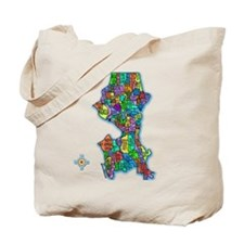 Brilliant Colors Map of Seattle Tote Bag