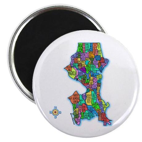 "Brilliant Colors Map of Seattle 2.25"" Magnet (10 p"