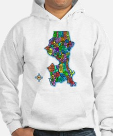 Brilliant Colors Map of Seattle Hoodie