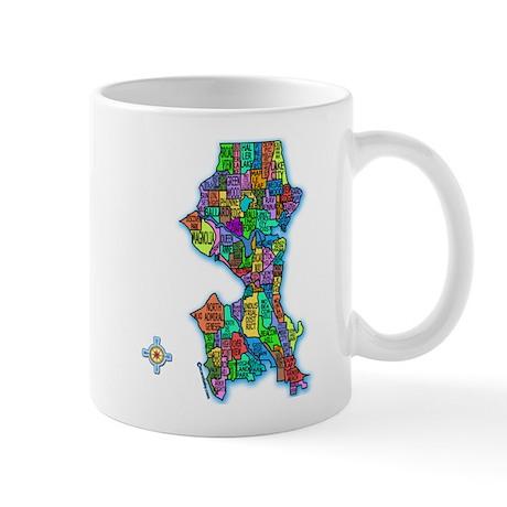 Brilliant Colors Map of Seattle Mug