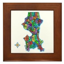 Brilliant Colors Map of Seattle Framed Tile