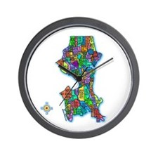 Brilliant Colors Map of Seattle Wall Clock
