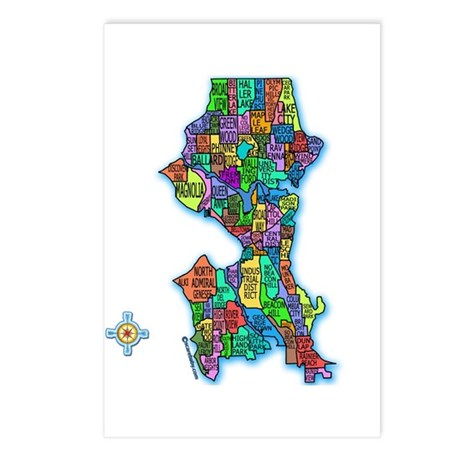 Brilliant Colors Map of Seattle Postcards (Package