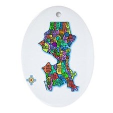 Brilliant Colors Map of Seattle Oval Ornament