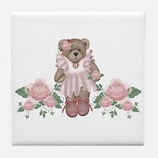 Beary Rosy Tile Coaster