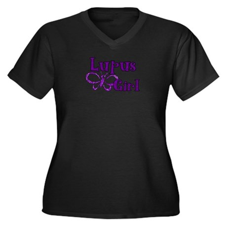 Lupus Girl Women's Plus Size V-Neck Dark T-Shirt