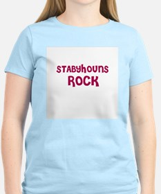STABYHOUNS ROCK Women's Pink T-Shirt