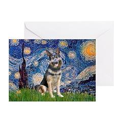 Starry / German Shepherd 10 Greeting Cards (Pk of
