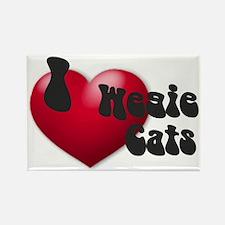"""I Love Wegie Cats!"" Rectangle Magnet"