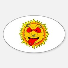 Body Piercing Sun Tattoo Oval Decal