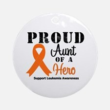 Proud Aunt Leukemia Hero Ornament (Round)