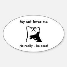 Sarcastic Cat Lover Gift Oval Decal