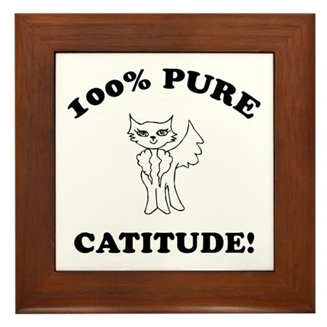 Cat Humor Gifts Framed Tile