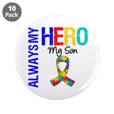 """Autism Hero Son 3.5"""" Button (10 pack)"""