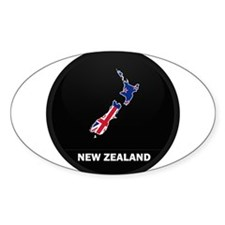 Flag Map of New Zealand Oval Decal