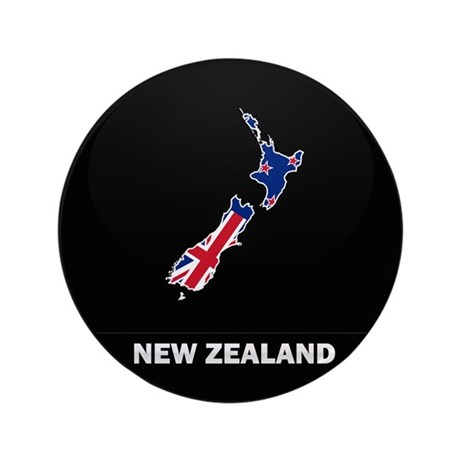 """Flag Map of New Zealand 3.5"""" Button"""