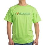I Love Seahorses Green T-Shirt