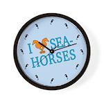I Love Seahorses Wall Clock