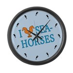 I Love Seahorses Large Wall Clock