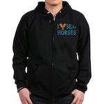 I Love Seahorses Zip Hoodie (dark)
