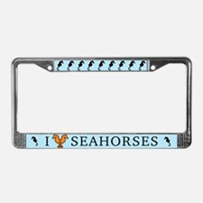 I Love Seahorses License Plate Frame