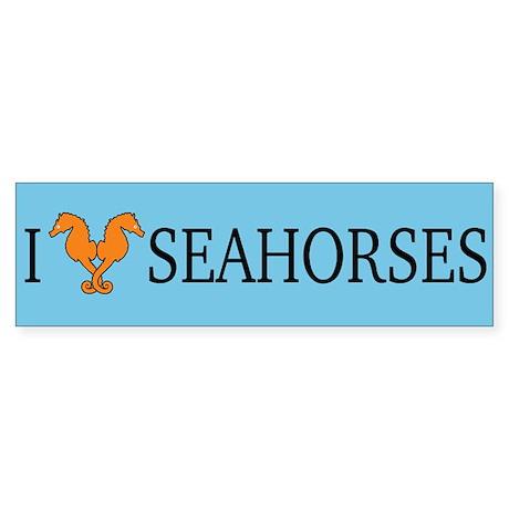 I Love Seahorses Bumper Sticker