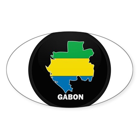 Flag Map of Gabon Oval Sticker