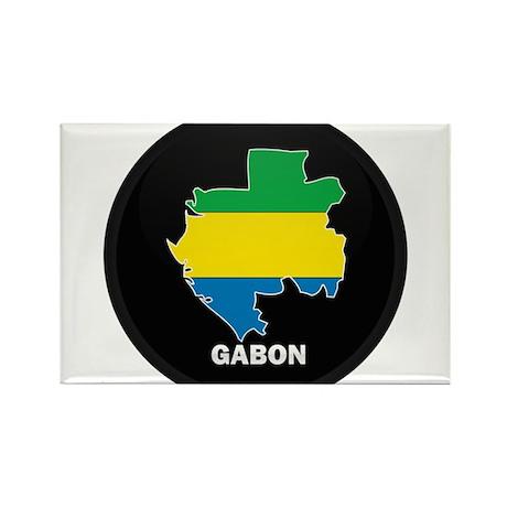 Flag Map of Gabon Rectangle Magnet