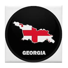 Flag Map of Georgia Tile Coaster