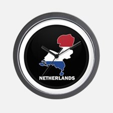 Flag Map of NETHERLANDS Wall Clock