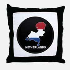 Flag Map of NETHERLANDS Throw Pillow