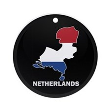 Flag Map of NETHERLANDS Ornament (Round)