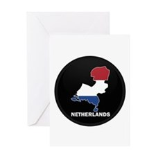 Flag Map of NETHERLANDS Greeting Card