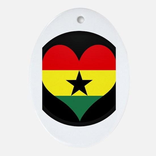 I love ghana Flag Oval Ornament