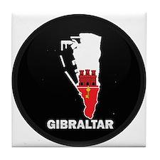 Flag Map of Gibraltar Tile Coaster