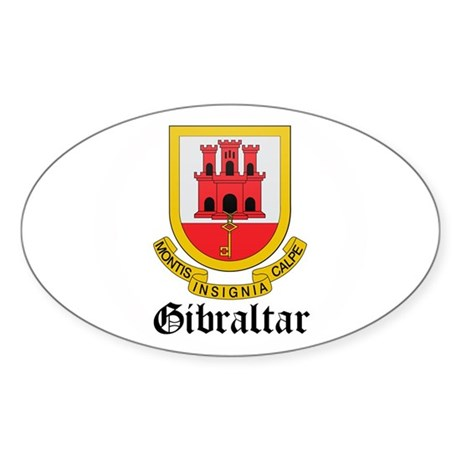 Gibraltarian Coat of Arms Sea Oval Sticker
