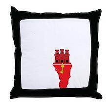 Gibraltar Flag Map Throw Pillow