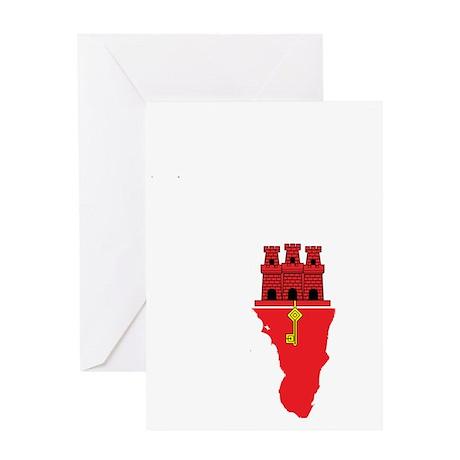 Gibraltar Flag Map Greeting Card