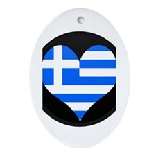 I love Greece Flag Oval Ornament