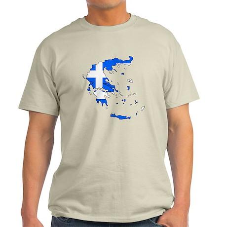 Greece Flag Map Light T-Shirt