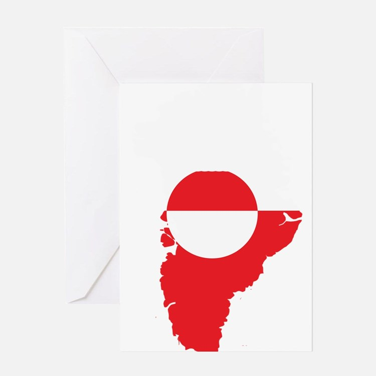 Greenland Flag Map Greeting Card